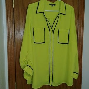 NWT Relativity Sheer Chartreuse Button-Down Blouse
